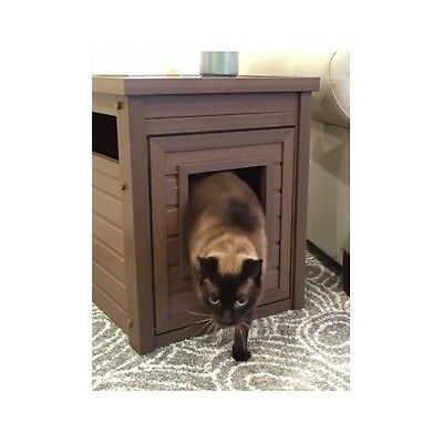 Hidden Kitty Litter Furniture Box Odor Resistant End Table Large Cat Discrete !