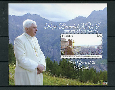 St Kitts 2015 MNH Pope Benedict XVI Events Papacy Five Years Pontificate 1v S/S