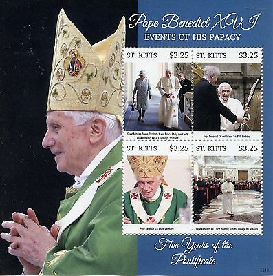 St Kitts 2015 MNH Pope Benedict XVI Events Papacy Five Years Pontificate 4v M/S