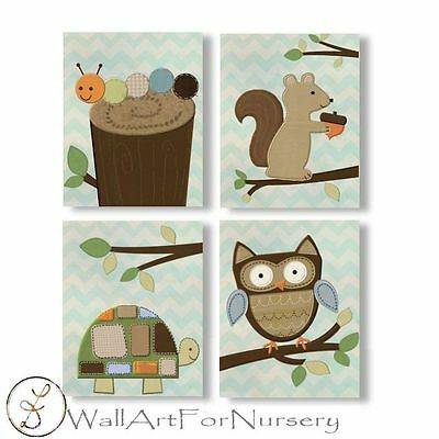 Woodland Sweet Forest Friends neutral WALL ART FOR NURSERY decor for baby room