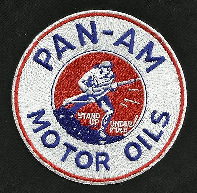 Vintage Style Pan-Am Motor Oils Stand Up Hot Rod Rockabilly Greaser Biker Patch