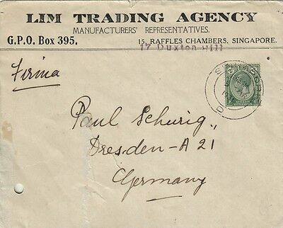 Z6905-Singapore, Cover To Germany, 1931