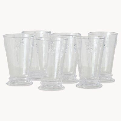Set Of 6 Bee Design Glass Tumblers Glasses
