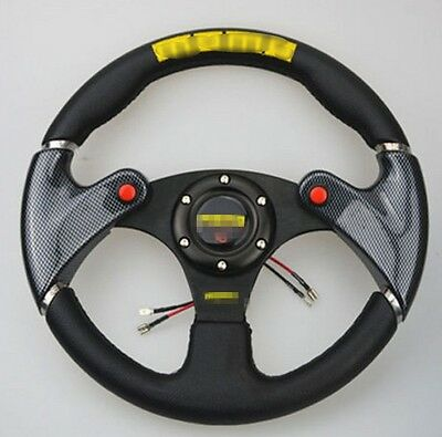 Black 320mm /13 inch Racing Steering Wheel with Horn Button PVC Leather