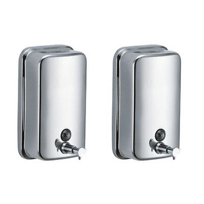 Set 2 x Soap dispenser Stainless steel 16.9oz lockable Industry Lotion Wall