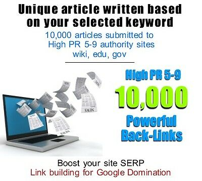 Website Backlinks- Article written & submitted to 10,000 high pr 5-9 authorities