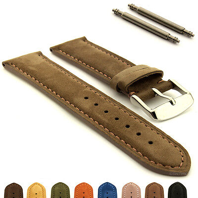 Two-Piece Suede Genuine Leather Watch Strap Band Teacher, Spring Bars, SS Buckle