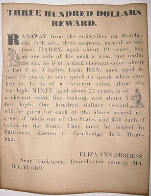 Harriet Tubman Runaway Slave Poster, slavery, Minty, wanted