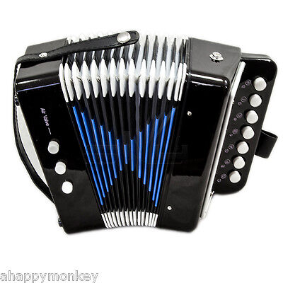 🎁Great Gift🎁 Accordion Black 7 Button 2 Bass Kid Music Instrument *Special*