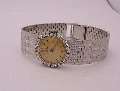 Vintage Omega 18K White Gold Diamond Bezel Mesh Bracelet Ladies Watch