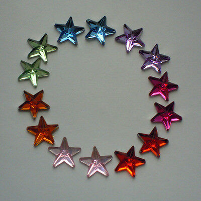 50 x 12mm or 15mm flat back rhinestone mixed colour stars cards/scrapbooking