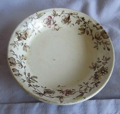 "Antique Butter Pat 3.25"" Pink & Brown Flower Border Marked ""30,11,92"""