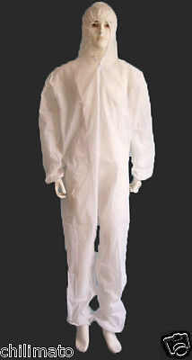 Disposable Coverall Overall Suit Hood Non-woven Dust-proof Clothing (50 PCS)