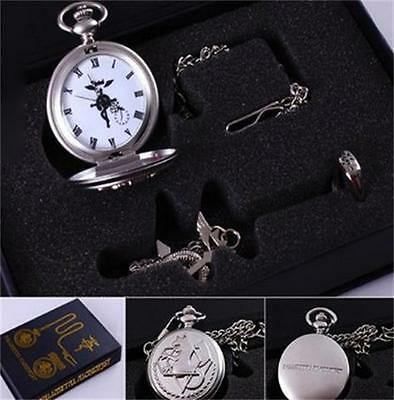 Cosplay Fullmetal Alchemist Pocket Watch Necklace Ring Edward Elric Anime Gift