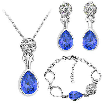 Shiny Royal Blue Costume Jewellery Set Drop Earrings Necklace Bracelet S845