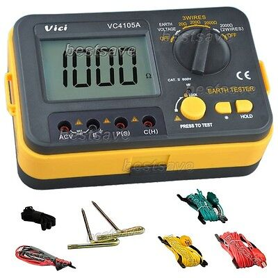 Pro VICHY VC4105A LCD Digital Earth Ground Resistance/Voltage Tester Meter B0410