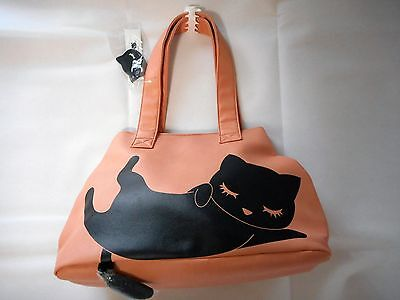 Sleeping Cat Dual style Tote bag with Cat tail (Pink)