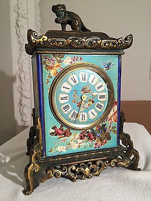 Antique 19th cen French Chinoiserie Japonisme  Aesthetic Bronze/Porcelain clock