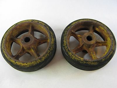 "(2) 12"" x 3 1/2"" Antique Goodrich Tire Rubber & Cast Iron Cart Wheels w/ bearing"