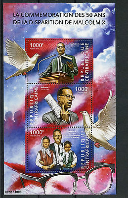 Central African Republic 2015 MNH Malcolm X 50th Memorial Anniversary 3v M/S