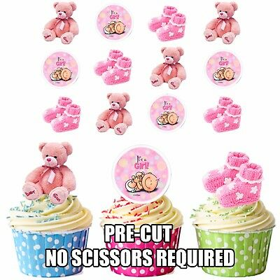 Pink Baby Girl 12 Edible Cup Cake Toppers Baby Shower Christening Decorations