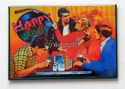 "HAPPY DAYS Metal LUNCHBOX   2"" x 3"" Fridge MAGNET ART FONZ"