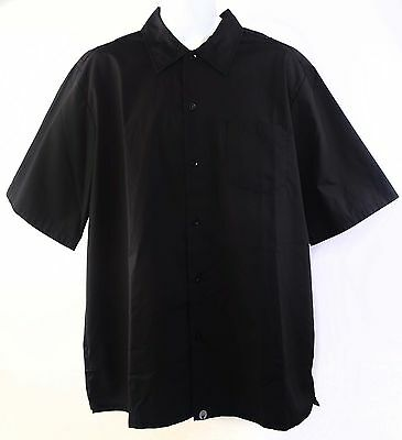 Chef's Cooks Black Shirt Chef Works Collar Short Sleeve C100BLKL Mens Large New