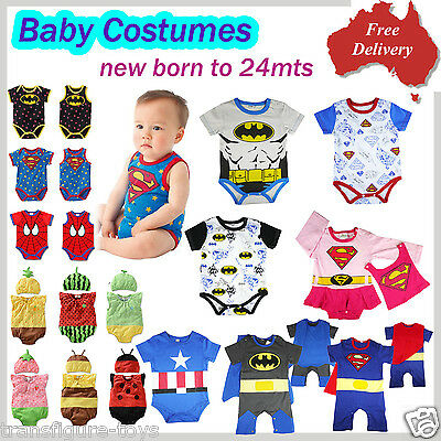age 000-2 baby costumes dress up kids boys girls Crossplay spiderman batman supe