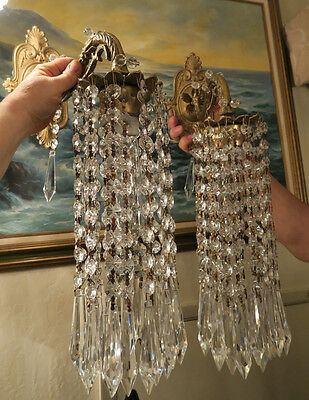 PR Vintage Sconces French beaded Brass bronze fountain waterfall Crystal lamps