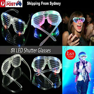 5pcs LED Glasses Flashing RockStar Shutter Shades Sunglasses Glow in the dark