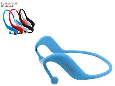 Blue 3 in 1 Bluetooth wireless sport headset support TF Card, MP3 and FM radio