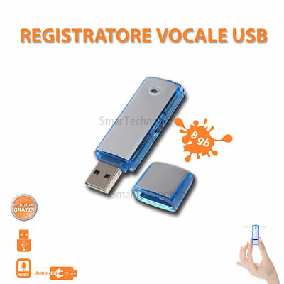 Pen Drive Registratore Vocale Usb 8Gb Mini Audio Recorder Microspia Spy Cimice