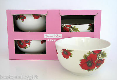 New Gracie China 4Pc Set Fine Porcelain Red Poppy Flower Cereal Bowl+Box