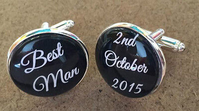 Silver Plated Mens Personalised Wedding Role Cuffinks links gift BEST MAN USHER