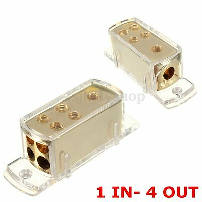 4 Ways Car Audio Stereo Amp Power Ground Cable Splitter Distribution Block NEW
