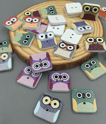 DIY 50/100pcs Square Owl Wooden Scrapbooking Sewing Buttons 2 holes Crafts 15mm