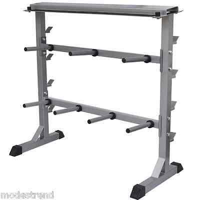 Dumbbell barbell rack 300kg Gym Weight Plate Bar Rack Storage Stand Carrier Hold