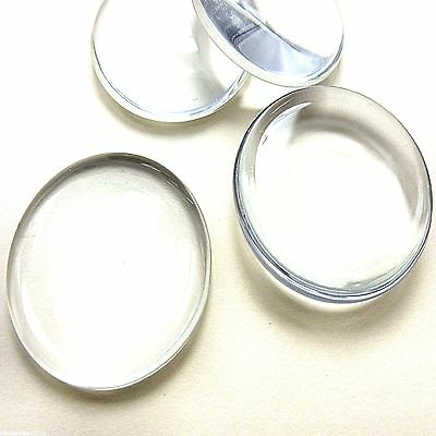 4 CLEAR GLASS ROUND DOMED CAMEO CABOCHON 30mm DIY Pendant Crafts