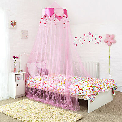 Pink Double Bed Canopy with Decorative Silky Valance and Pink Bobbles