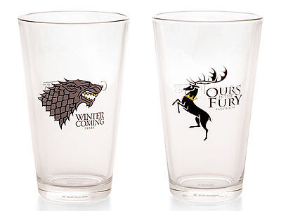 Game Of Thrones Pint Glass Set (Stark/Baratheon) - New in box