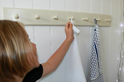 Shabby chic shaker peg rail, vintage style wooden coat hook rail, hand painted
