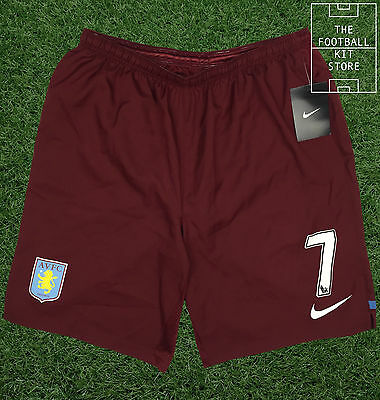 Aston Villa Home Shorts - Official Nike Shorts with Numbers - Mens - L-2XL