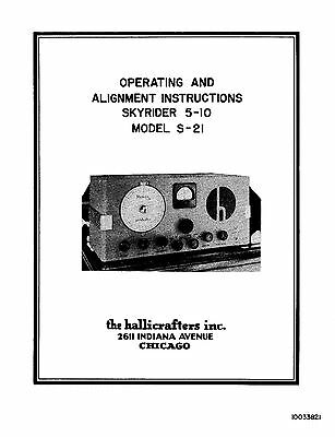 Hallicrafters S-21 Skyrider 5-10 Operating  & Alignment Manual