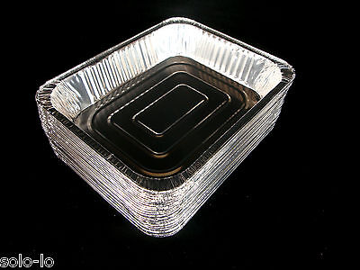 100 Aluminium 325x 260mm Foil Tray Roasting BBQ Baking Serving Trays Disposable