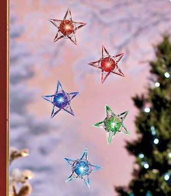 Christmas Holiday Set of 5 LIGHTED STARS or SNOWFLAKES Color Changing  DECOR NEW