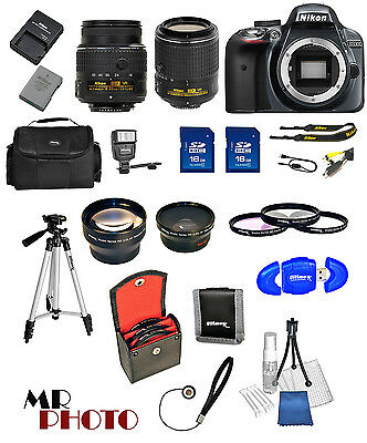 Nikon D3300 Black DSLR Camera w/ VR 18-55mm + 55-200mm VR II + 32GB VALUE BUNDLE