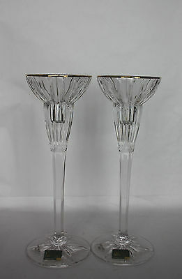 Mikasa Crystal Candle Holder x 2  Gold Rimmed Made in Germany