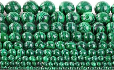 15.5'' Strand Natural Malachite Gemstone Beads Round Loose Spacer Beads 4-20MM