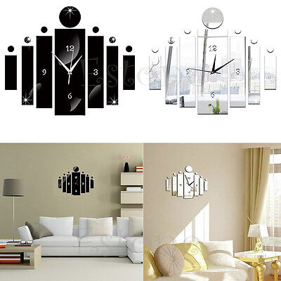 Black Silver New DIY 3D Mirror Quartz Wall Clock Sticker Home Modern Decoration