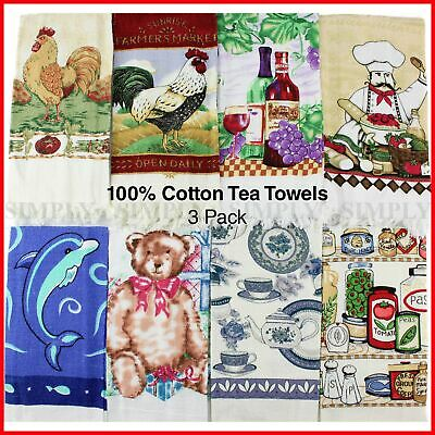 Cotton Kitchen Tea Towels Teatowels Tea Towel Dish Cloths New Linen - 3 Pack